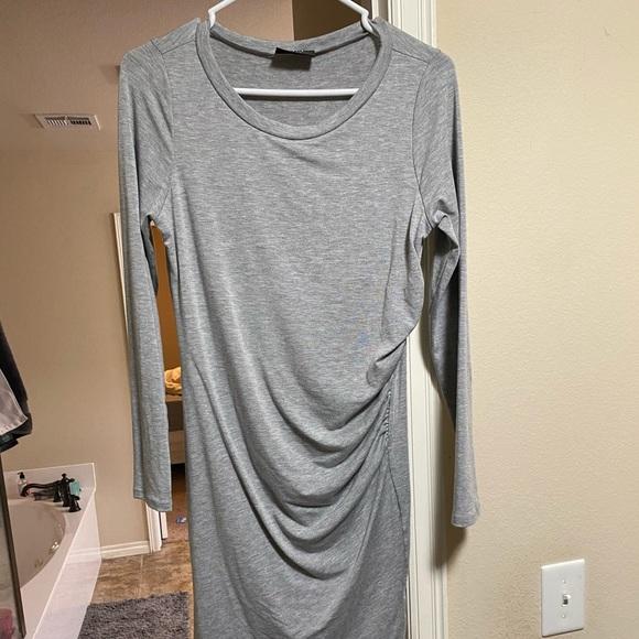 Ruched midi length bodycon dress
